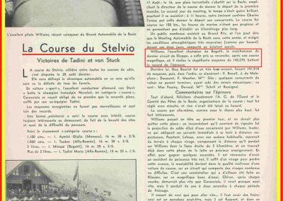 1932 16 09 GP de la Baule 1er Williams Bugatti 4900cc -Stelvio 28 08 Aymini, Tauber-Tadini. 1