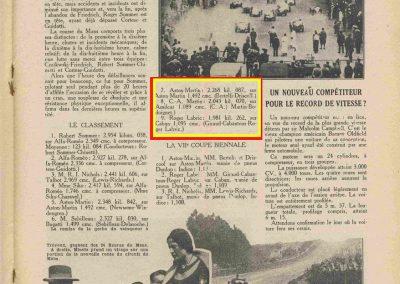 1932 18-19 06 G.P. d'Endursance de 24 heures au Mans, C.A. Martin Amilcar 6 cyl.-4, n°29, 1er de Cat. et 8ème au général, devant Cabantous-Salmson 9ème et dernier sur 33 engagés. 11