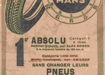 1932 18-19 06 G.P. d'Endursance de 24 heures au Mans, C.A. Martin Amilcar 6 cyl.-4, n°29, 1er de Cat. et 8ème au général, devant Cabantous-Salmson 9ème et dernier sur 33 engagés. 12