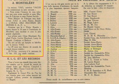 1932 18-19 06 G.P. d'Endursance de 24 heures au Mans, C.A. Martin Amilcar 6 cyl.-4, n°29, 1er de Cat. et 8ème au général, devant Cabantous-Salmson 9ème et dernier sur 33 engagés. 27