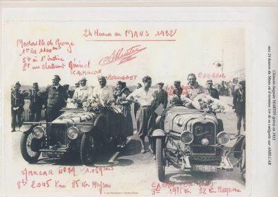 1932 18-19 06 G.P. d'Endursance de 24 heures au Mans, C.A. Martin Amilcar 6 cyl.-4, n°29, 1er de Cat. et 8ème au général, devant Cabantous-Salmson 9ème et dernier sur 33 engagés. 5