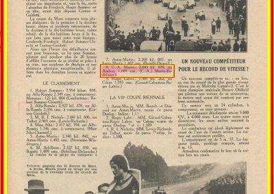 1932 18-19 24 heures du Mans C.A. Martin 8ème Amilcar C6-4. 3