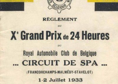 1933 01 01 07 GP de 24 heures à Spa (le 10ème)