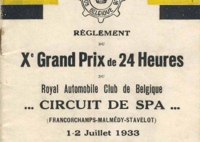 1933 01-02 07 GP (le 10ème) de 24 h. Circuit de Spa-Francorchamps, C.A. Martin, Amilcar 6cyl.-4, 1er Cat. 1100, de Garvardie et Duray, 2090 km, 19ème au Clas. général. 1