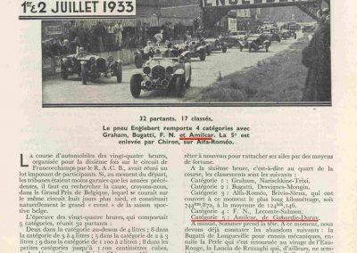 1933 01-02 07 GP (le 10ème) de 24 h. Circuit de Spa-Francorchamps, C.A. Martin, Amilcar 6cyl.-4, 1er Cat. 1100, de Garvardie et Duray, 2090 km, 19ème au Clas. général. 2
