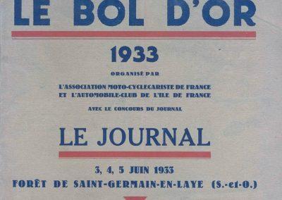 1933 03-05 06, Bol d'Or, 1er de Gavardie Amilcar MCO GH. 1830 km. devant mon père, un accident l'oblige à grimper sur le bas côté, l'Amilcar se retourne sur mon père. 1