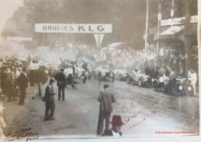 1933 03-05 06, Bol d'Or, 1er de Gavardie Amilcar MCO GH. Devant mon père (C.A. Martin) un accident l'oblige à grimper sur le bas côté, l'Amilcar se retourne mon père dessous. 3