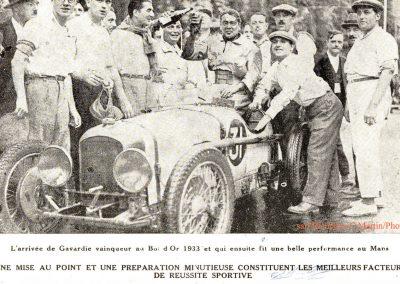1933 03-05 06, Bol d'Or, 1er de Gavardie Amilcar MCO GH. Devant mon père (C.A. Martin) un accident l'oblige à grimper sur le bas côté, l'Amilcar se retourne mon père dessous. 4
