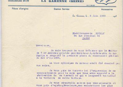 1933 03-05 06 Compliment de C.A. Martin aux Etablissements ''Buchly ABM Réalésages'' pour la qualité de leurs travaux qui ont contribué à la victoire au Bol d'Or. 1