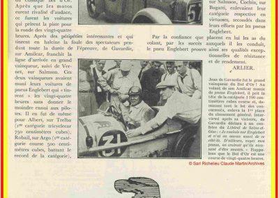 1933 05 06 Bol d'Or (12ème) 1er au clas. général, de Gavardie Amilcar MCO GH n°31, 1830 km. C.A. Martin, Amilcar 6cyl.-4, n°28 ab. à cause d'un accident produit devant lui, la nuit. 13