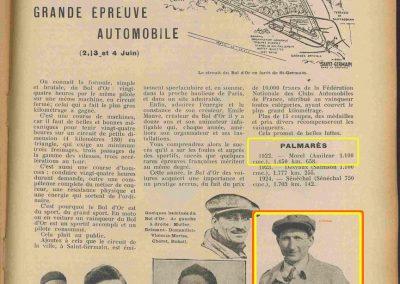 1933 05 06 Bol d'Or (12ème) 1er au clas. général, de Gavardie Amilcar MCO GH n°31, 1830 km. C.A. Martin, Amilcar 6cyl.-4, n°28 ab. à cause d'un accident produit devant lui, la nuit. 14