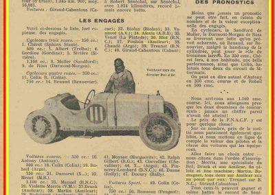1933 05 06 Bol d'Or (12ème) 1er au clas. général, de Gavardie Amilcar MCO GH n°31, 1830 km. C.A. Martin, Amilcar 6cyl.-4, n°28 ab. à cause d'un accident produit devant lui, la nuit. 15