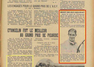 1933 05 06 Bol d'Or (12ème) 1er au clas. général, de Gavardie Amilcar MCO GH n°31, 1830 km. C.A. Martin, Amilcar 6cyl.-4, n°28 ab. à cause d'un accident produit devant lui, la nuit. 16