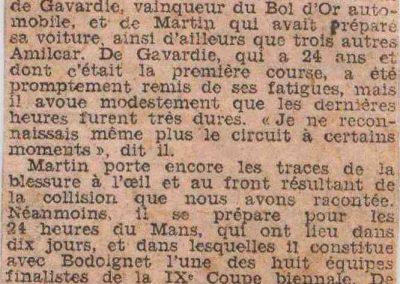 1933 05 06 Bol d'Or (12ème) 1er au clas. général, de Gavardie Amilcar MCO GH n°31, 1830 km. C.A. Martin, Amilcar 6cyl.-4, n°28 ab. à cause d'un accident produit devant lui, la nuit. 5