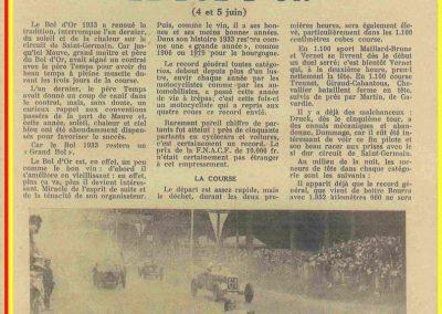 1933 05 06 Bol d'Or (12ème) 1er au clas. général, de Gavardie Amilcar MCO GH n°31, 1830 km. C.A. Martin, Amilcar 6cyl.-4, n°28 ab. à cause d'un accident produit devant lui, la nuit. 9