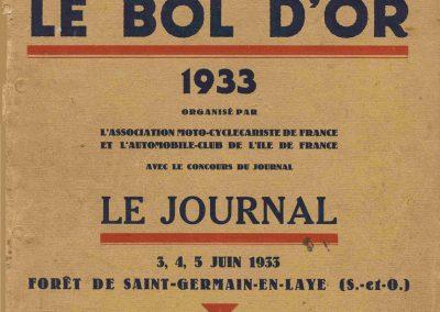 1933 05 06 Bol d'Or (12ème) 1er au clas. général, de Gavardie Amilcar MCO GH n°31, 1830 km. ab. C.A. Martin, Amilcar 6cyl.-4, n°28 à cause d'un accident produit devant lui, la nuit. 00