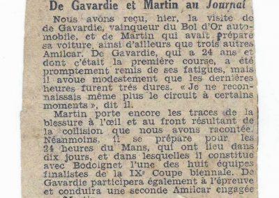 1933 05 06 Bol d'Or (12ème) 1er au clas. général, de Gavardie Amilcar MCO GH n°31, 1830 km. ab. C.A. Martin, Amilcar 6cyl.-4, n°28 à cause d'un accident produit devant lui, la nuit. 1