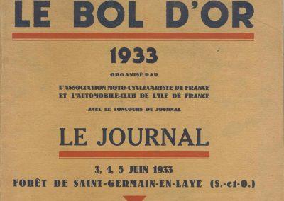 1933 05 06 Bol d'Or Amilcar Blot, Biolay, de Gavardie, C.A. Martin, Bodoignet, Poiré, Poulain, Raph, Druck. 1