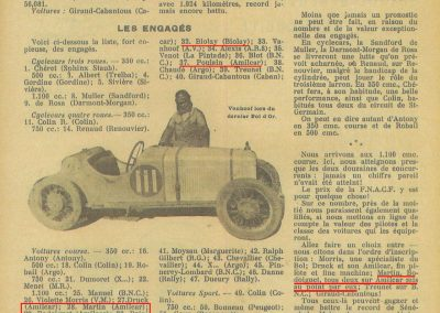 1933 05 06 Bol d'Or Amilcar Blot, Biolay, de Gavardie, Martin, Bodoignet, Poiré, Poulain, Raph, Druck, 11