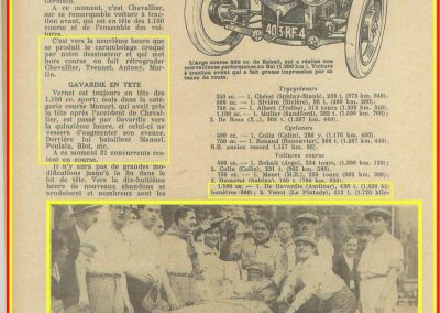 1933 05 06 Bol d'Or Amilcar Blot, Biolay, de Gavardie, Martin, Bodoignet, Poiré, Poulain, Raph, Druck, 13