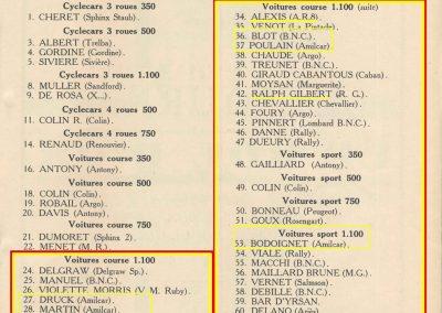 1933 05 06 Bol d'Or Amilcar Blot, Biolay, de Gavardie, Martin, Bodoignet, Poiré, Poulain, Raph, Druck, 2