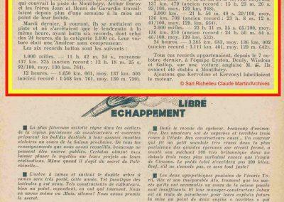 1933 05 12 Records sur l'Autodrome de Montlhéry de 3.285 km en 24 heures à 136,902 km-h. sur l'Amilcar MCO GH. 1100 de C.A. Martin pilotés par J. et H. de Gavardie et Duray. 1