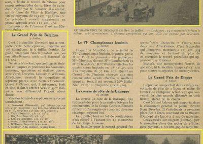 1933 09 07 GP Marne Etancelin Wimille Alfa, 24 h. Belgique Chiron Chinetti, Williams, Amilcar de Gavardie-Duray-Martin 2