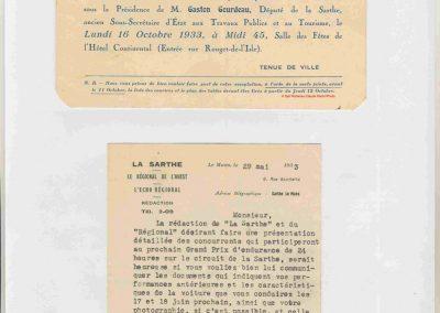 1933 17-18 06 GP d'Endurance 24 h. du Mans, 12ème, J.H. de Gavardie Amilcar-Martin 6 cyl, 1100cc, 2005 km n°34. C.A. Martin Amilcar n° 36 non classé (comme le Prince de Roumanie sur Duesenberg. 10