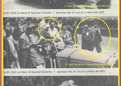 1933 17-18 06 GP d'Endurance 24 h. du Mans, 12ème, J.H. de Gavardie Amilcar-Martin 6 cyl, 1100cc, 2005 km n°34. C.A. Martin Amilcar n° 36 non classé (comme le Prince de Roumanie sur Duesenberg. 3
