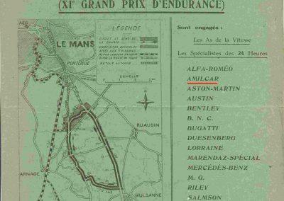 1933 17 18 06 GP d'Endurance 24 h. du Mans, 12ème, J.H. de Gavardie Amilcar-Martin 6 cyl, 1100cc, 2005 km n°34. C.A. Martin Amilcar n°36 non classé (comme le Prince de Roumanie sur Duesenberg). 1