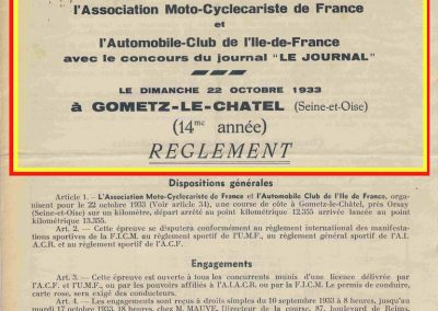 1933 22 10 Côte de Gometz le Châtel (la 14ème année) ACIF, Amilcar C.A. Martin (1er de la 4ème). 1