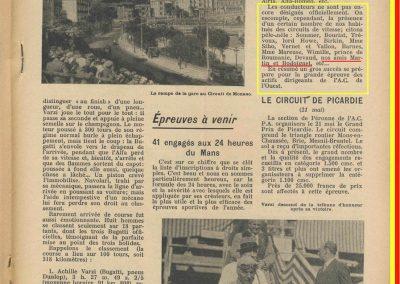 1933 23 04 Monaco 7ème Williams Bugatti 51, 24 Heures du Mans, 12 ème de Gavardie-Martin 1er des 1100. 2