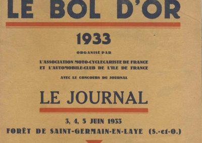 1933 3-4-5 06 Bol d'Or. Biolay sur Biolay n°32. Amilcar 6 cyl. de, Druck, C.A. Martin, Poiré, de Gavardie, Poulain, Blot (BNC). 1