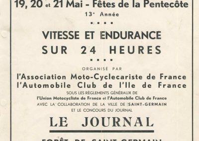 1934 19-21 05 Bol d'Or Saint-Germain-en-Laye. Amilcar de C.A. Martin n°42 ab., Poulain n°56 et Poiré n°67. 1