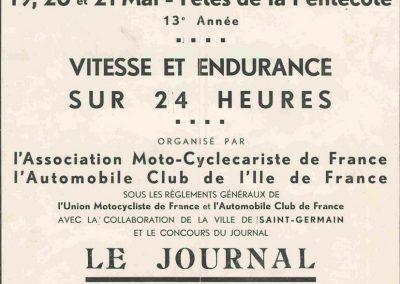 1934 19-21 05 Le Bol d'Or, Saint-Germain-en-Laye. Amilcar C.A. Martin n°42, Poulain 2ème n°56 et Poiré n° 67, 4ème. 1