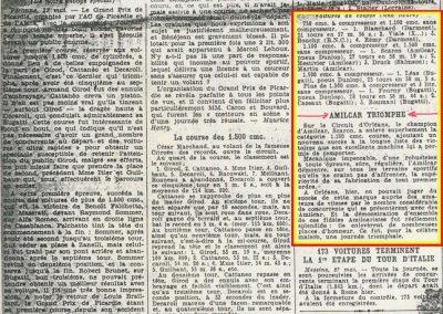 1934 27 05 Circuit d'Orléans. Amilcar, C.A. Martin Pousse, de Gavardie, Scaron, Mestivier, 6cyl.-4 et MCO. Blot. 3