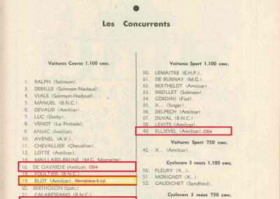 1935 18-19 05 Bol d'Or à Saint-Germain. Amilcar 6cyl.-4 C.A. Martin, de Gavardie, Horvilleur, Poulain, Eliével, Blot et C.A. Martin sur Simca-Fiat Coppa d'Oro. 2