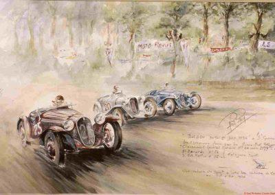 1936 01 05 Bol d'Or, Simca-Fiat, C.A. Martin en rouge n°25, Gordini en blanc n°20 et Zanardi en bleu n°22. Grande victoire Française ! 9