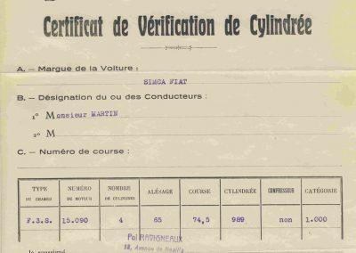 1936 04 06 les 24 heures du Mans. Certificat de Vérification de cylindrée de la Fiat Coppa d'Oro 1000cc de C.A. Martin. 1
