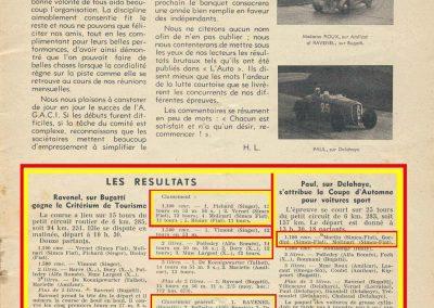 1936 20 09 Coupe d'Automne, C.A. Martin Simca-Fiat 3ème des 1100. Pollédry Alfa 1er des 2000 et 2ème au Critérium. La Coupe de Vitesse 1100, Grignard, Blot et Mestivier. 5