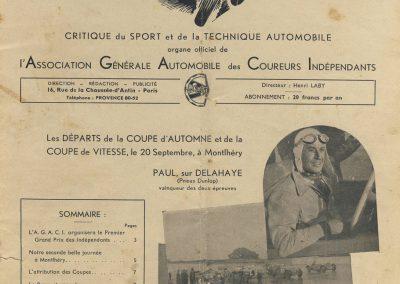 1936 20 09 Revue Auto Sport. Coupe d'Automne, Coupe de Vitesse, Critérium de Tourisme. 1
