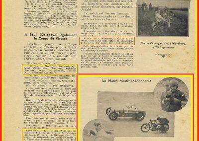 1936 20 09 Revue Auto Sport. Coupe de Vitesse, 3ème Amilcar MCO 1100 Mestivier, 6ème Grignard, 8ème Blot. 3