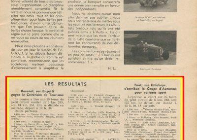 1936 20 09 Revue Auto Sport. Critérium de Tourisme. Coupe d'Automne. 2