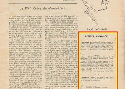 1936 20 09 Revue Auto Sport. Rallye Monte-Carlo. Annonce de la vente des Amilcar MCO 1100 et 1500 de C.A. Martin. 5