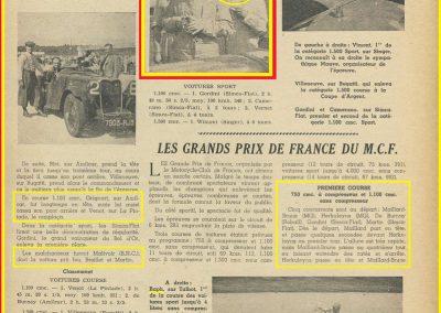 1936 20 09 les GP de France MCF, 1er GP, 4ème C.A. Martin-Fiat-Simca-Coppa d'Oro. 2ème GP Grignard Amilcar 2ème, C.A. Martin Amilcar MCO 3ème et Mestivier MCO 5ème. 2