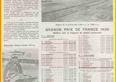 1936 20 09 les GP de France MCF, 1er GP, 4ème C.A. Martin-Fiat-Simca-Coppa d'Oro. 2ème GP Grignard Amilcar 2ème, C.A. Martin Amilcar MCO 3ème et Mestivier MCO 5ème. 6