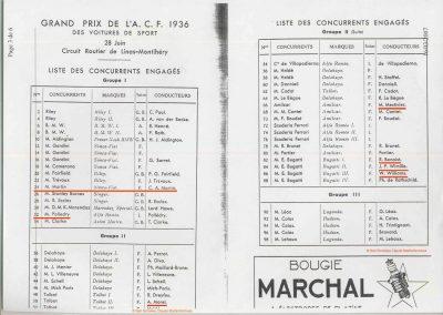 1936 28 06 GP ACF. C.A. Martin 23ème sur Simca-Fiat 998cc n°24, Coppa d'Oro devant Lord Howe et Camérano. 1er Wimille-Sommer Bugatti 57, 3300cc passant à plus de 230 km-h. 1