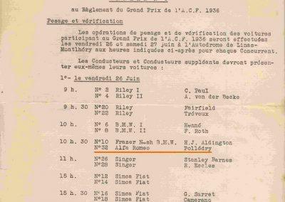 1936 28 06 GP ACF. C.A. Martin 23ème sur Simca-Fiat 998cc n°24, Coppa d'Oro devant Lord Howe et Camérano. 1er Wimille-Sommer Bugatti 57, 3300cc passant à plus de 230 km-h. 11