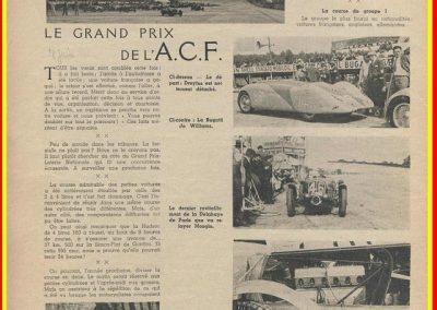 1936 28 06 GP ACF. C.A. Martin 23ème sur Simca-Fiat 998cc n°24, Coppa d'Oro devant Lord Howe et Camérano. 1er Wimille-Sommer Bugatti 57, 3300cc passant à plus de 230 km-h. 2