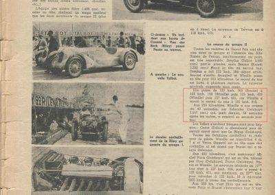 1936 28 06 GP ACF. C.A. Martin 23ème sur Simca-Fiat 998cc n°24, Coppa d'Oro devant Lord Howe et Camérano. 1er Wimille-Sommer Bugatti 57, 3300cc passant à plus de 230 km-h. 3